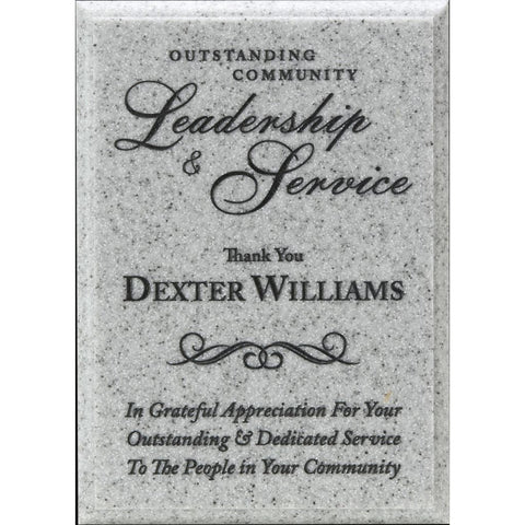 Grey AcrylaStone Plaque, Leadership & Service Award