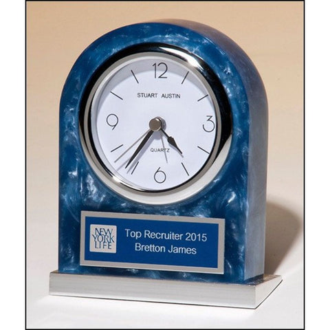 Acrylic mantle clock with polished silver aluminum base