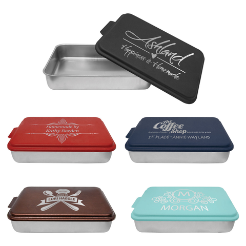 "Cake Pan with Laser Engraved Colored Lid, 9"" x 13"""