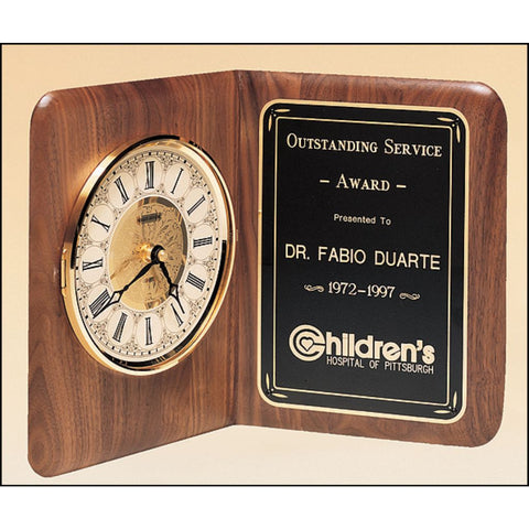 American walnut clock with Brass Diamond-Spun Bezel
