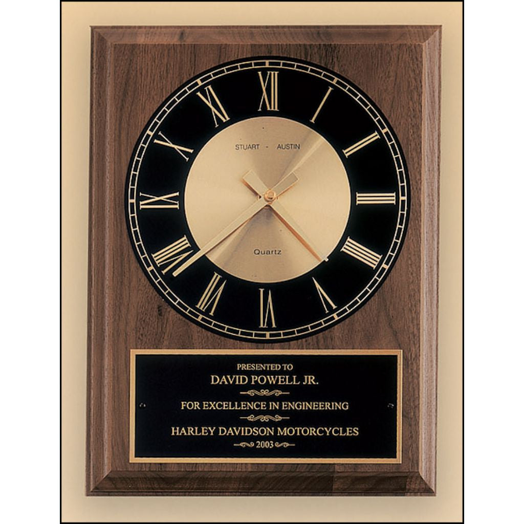 American walnut vertical wall clock with round face, Excellence Award