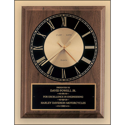 American walnut vertical wall clock with round face, 2 Sizes