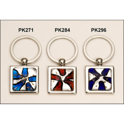 Art Glass Decorated Keyring, 3 Colors
