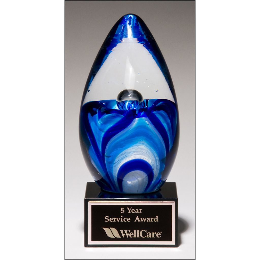 Art glass egg with blue and white accents, Service Award