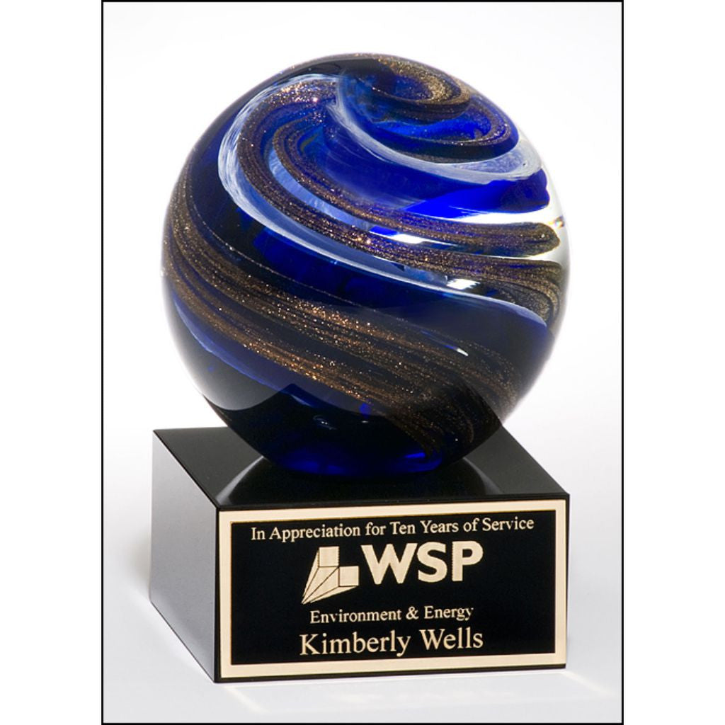 Art glass globe with blue, white and metallic gold highlights, Service Award