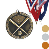 Baseball Crossed Bats XR Medal, 2""