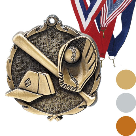 Baseball Wreath Medal, 2 1/2""