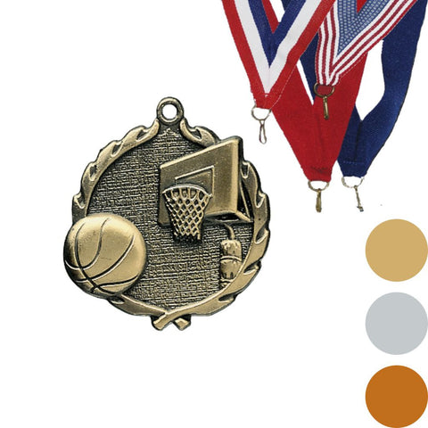 Basketball Wreath Medal, 1 3/4""