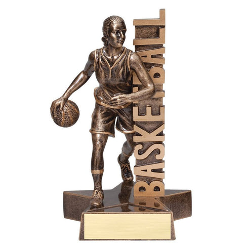 Basketball, Female, Billboard Resin Trophy, 2 Sizes
