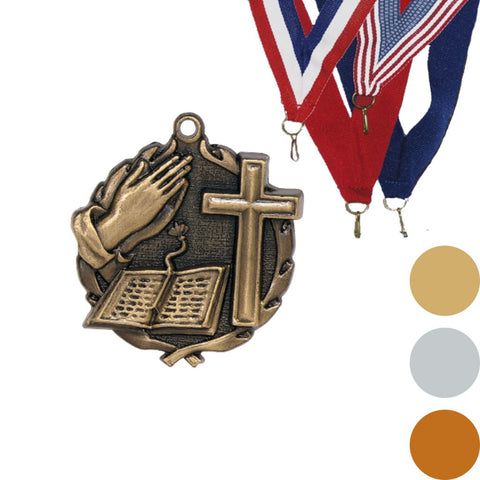 Bible Cross Wreath Medal, 1 3/4""