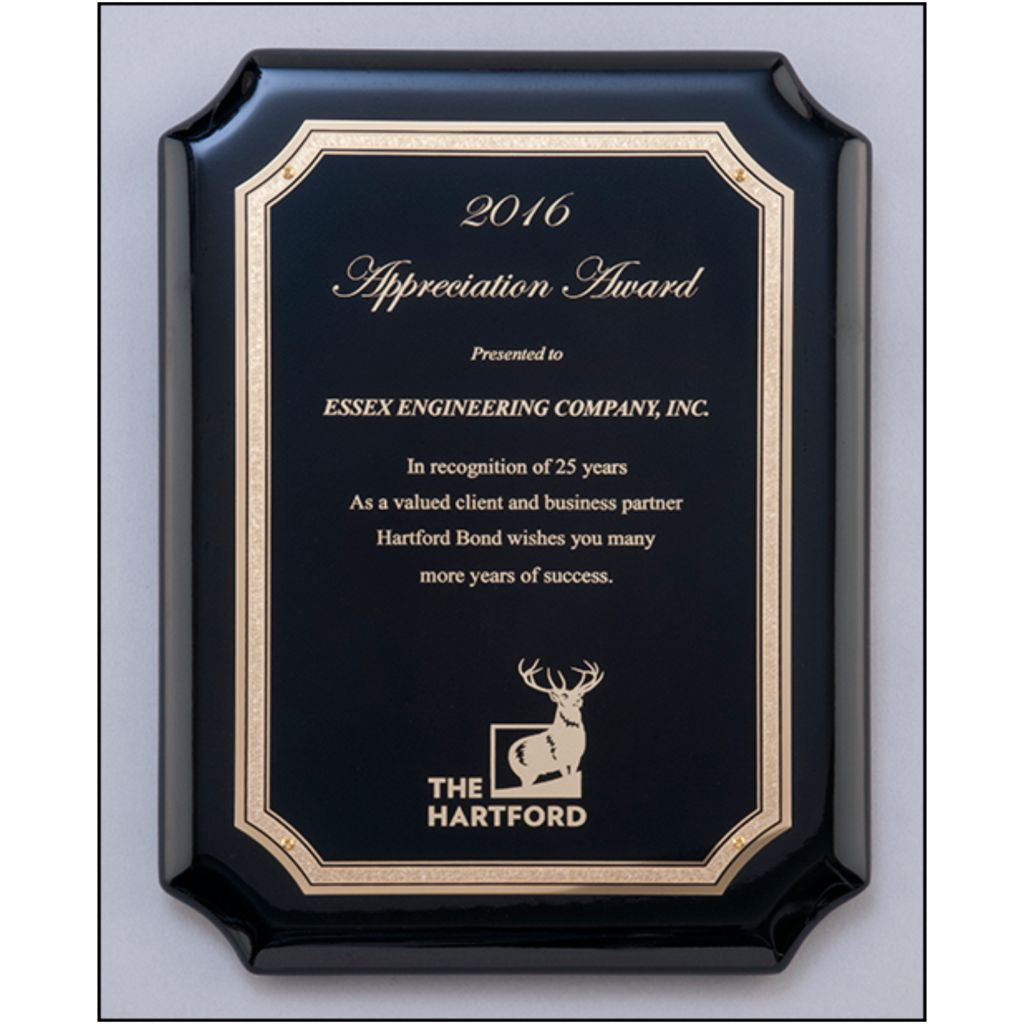 Black High Gloss Piano Finish Plaque with Gold Florentine Plate, Appreciation Award