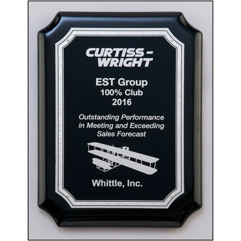Black High Gloss Piano Finish Plaque with Silver Florentine Border Plate, 3 Sizes