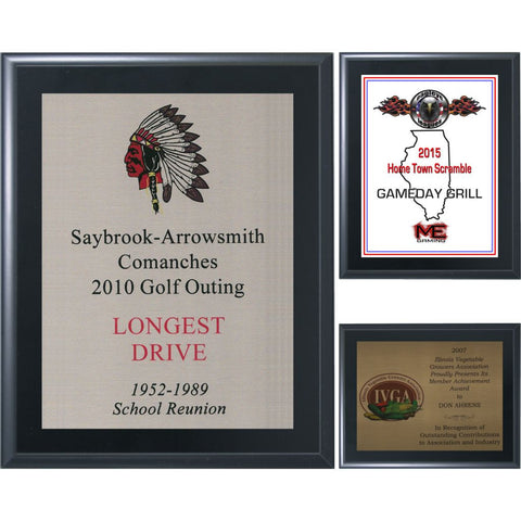 Black Matte Finish Plaque with Sublimated Aluminum Plate, 6 Sizes, 3 Plate Colors