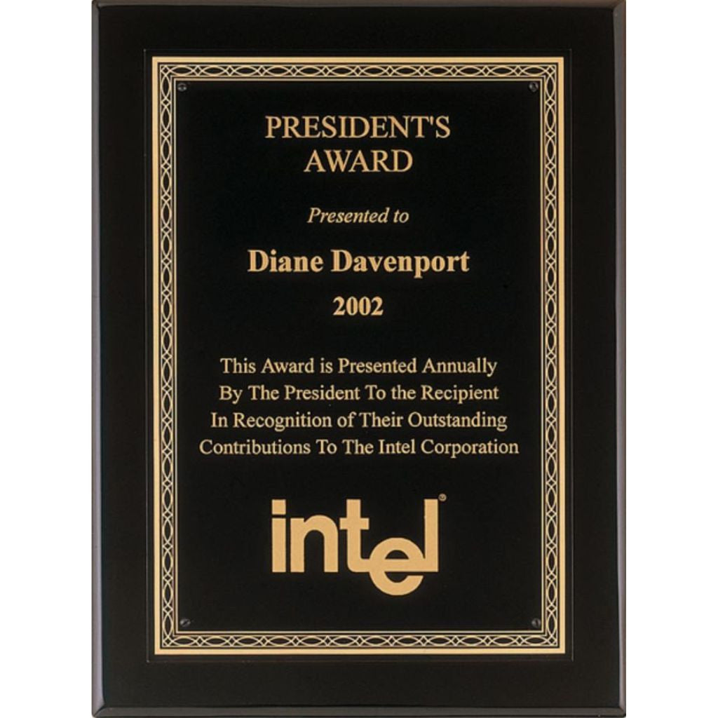 Black Piano Finish Plaque with Gold Florentine Design Plate, President's Award
