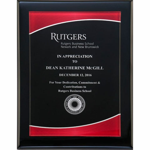 Black Piano Finish Plaque with Red Border Acrylic Plate, 3 Sizes