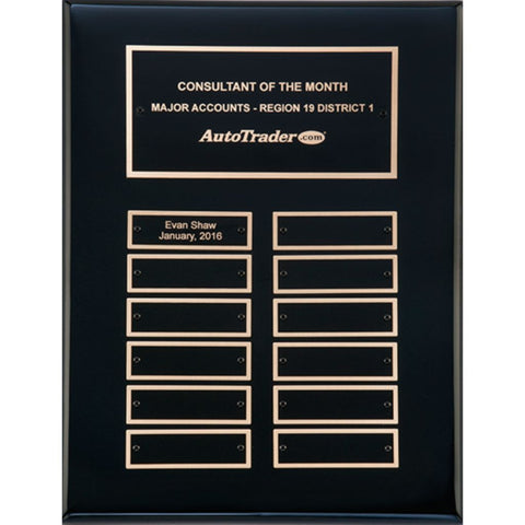 Black Stained Piano Finish Perpetual Plaque, 2 Sizes