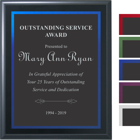 Black Matte Finish Plaque with Black Aluminum and Colored Shadow Plates, 5 Sizes, 5 Plate Colors