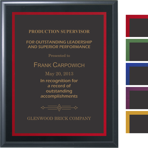 Black Matte Finish Plaque with Black Brass and Colored Shadow Plates, 5 Sizes, 5 Plate Colors