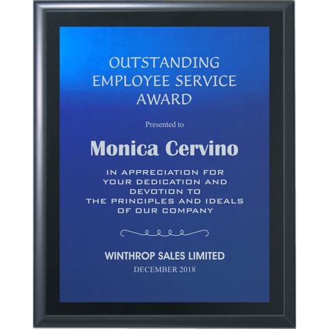 Black Matte Finish Plaque with Blue Aluminum Plate