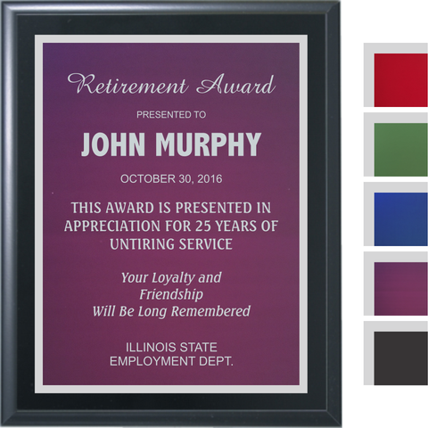Black Matte Finish Plaque with Colored Aluminum and Silver Shadow Plates, 5 Sizes, 5 Plate Colors