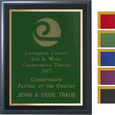 Black Matte Finish Plaque with Colored Brass and Gold Shadow Plates, 5 Sizes, 5 Plate Colors