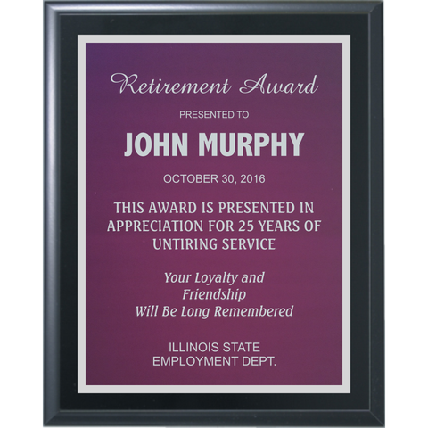Black Matte Finish Plaque with Purple Aluminum and Silver Shadow Plates