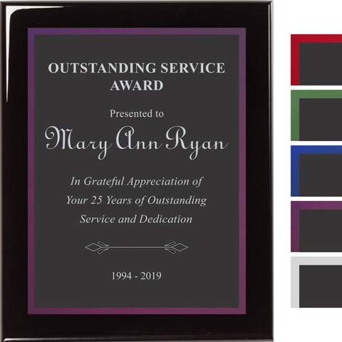 Black Piano Finish Plaque with Black Aluminum and Colored Shadow Plates, 4 Sizes, 5 Plate Colors
