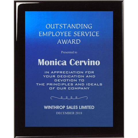 Black Piano Finish Plaque with Blue Aluminum Plate