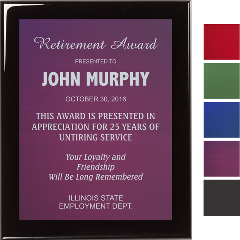 Black Piano Finish Plaque with Colored Aluminum Plate, 4 Sizes, 5 Plate Colors
