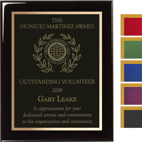 Black Piano Finish Plaque with Colored Brass and Gold Shadow Plates, 4 Sizes, 5 Plate Colors