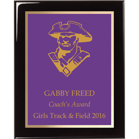 Black Piano Finish Plaque with Purple Brass Plate and Gold Shadow Plate