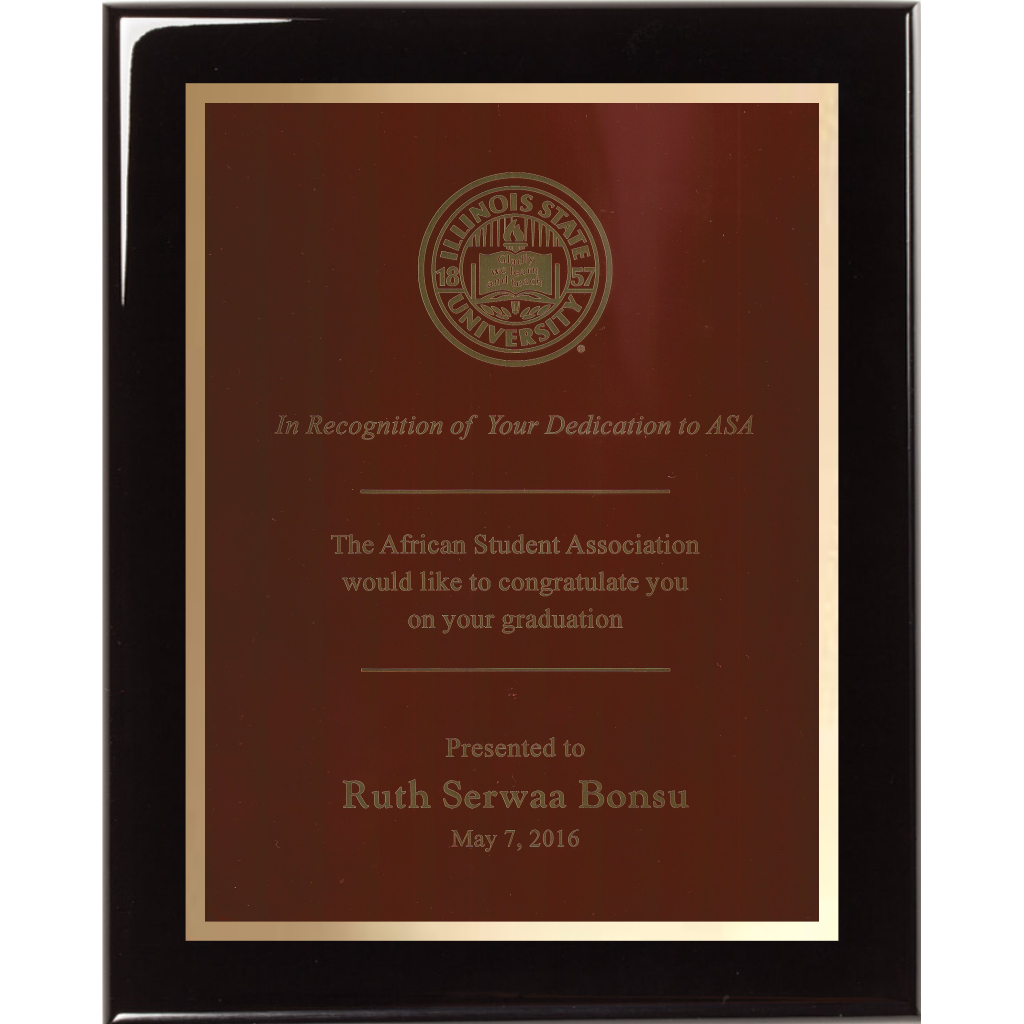 Black Piano Finish Plaque with Red Brass Plate and Gold Shadow Plate