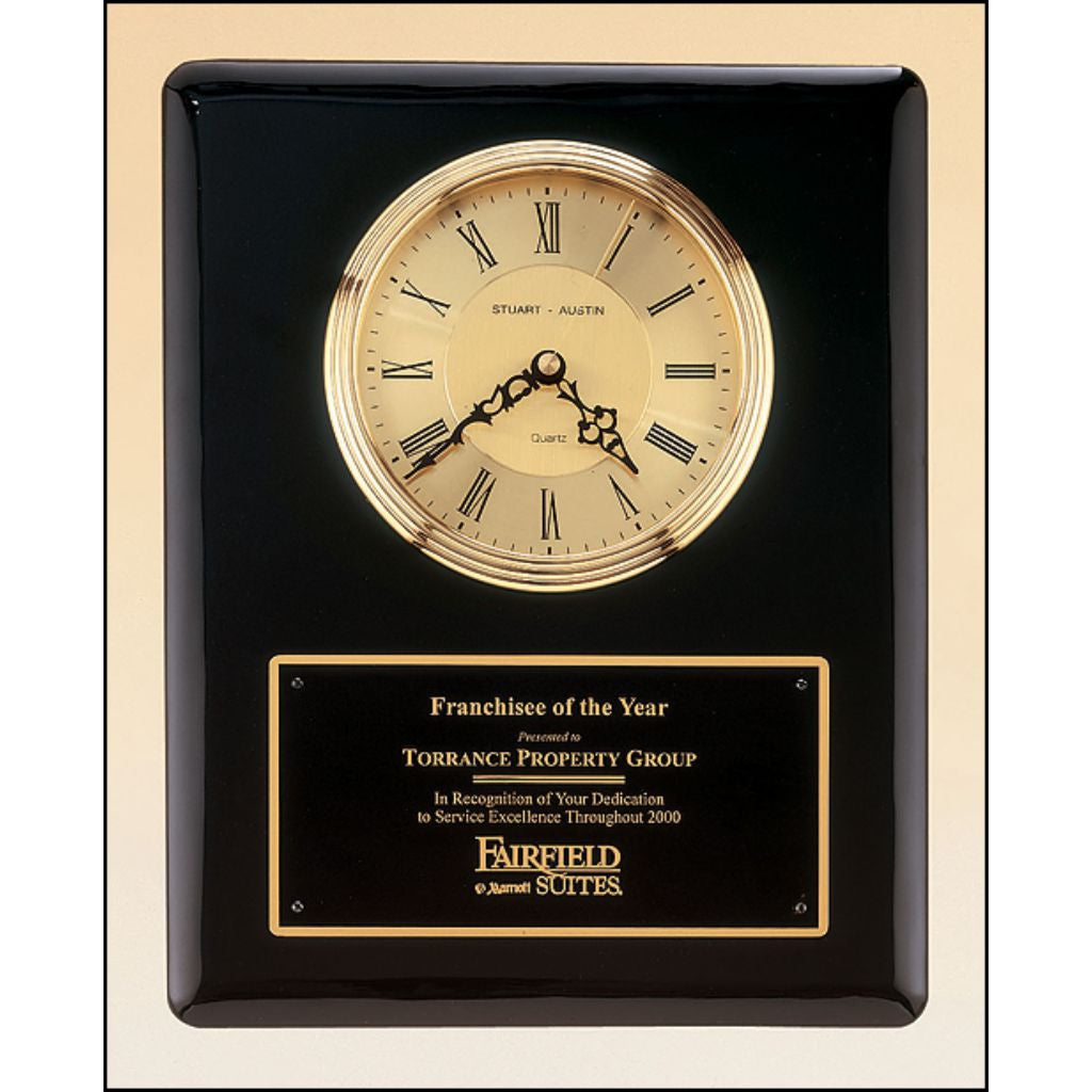 Black piano finish vertical wall clock, Excellence Award