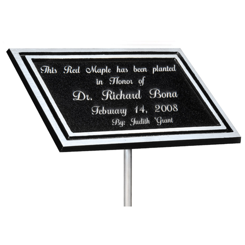 "Silver & Black Aluminum Outdoor Cast Plaque with 24"" Stake, Black Plate, Dedication Plaque"