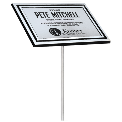 "Silver & Black Aluminum Outdoor Cast Plaque with 24"" Stake, Silver Plate, Dedication Plaque"