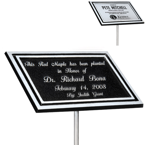 "Outdoor Cast Plaque, Silver and Black Aluminum with 24"" Stake and Insert Plate, 3 Sizes"