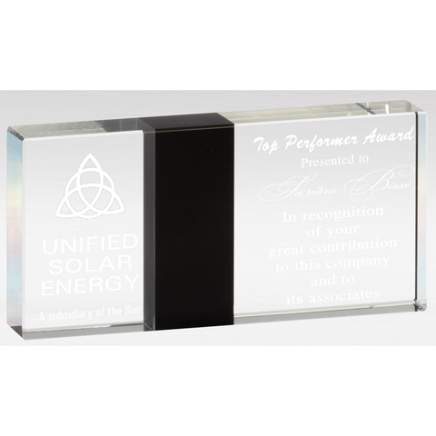 Monolith Series Crystal with Black Marble Divider, 6 1/4""