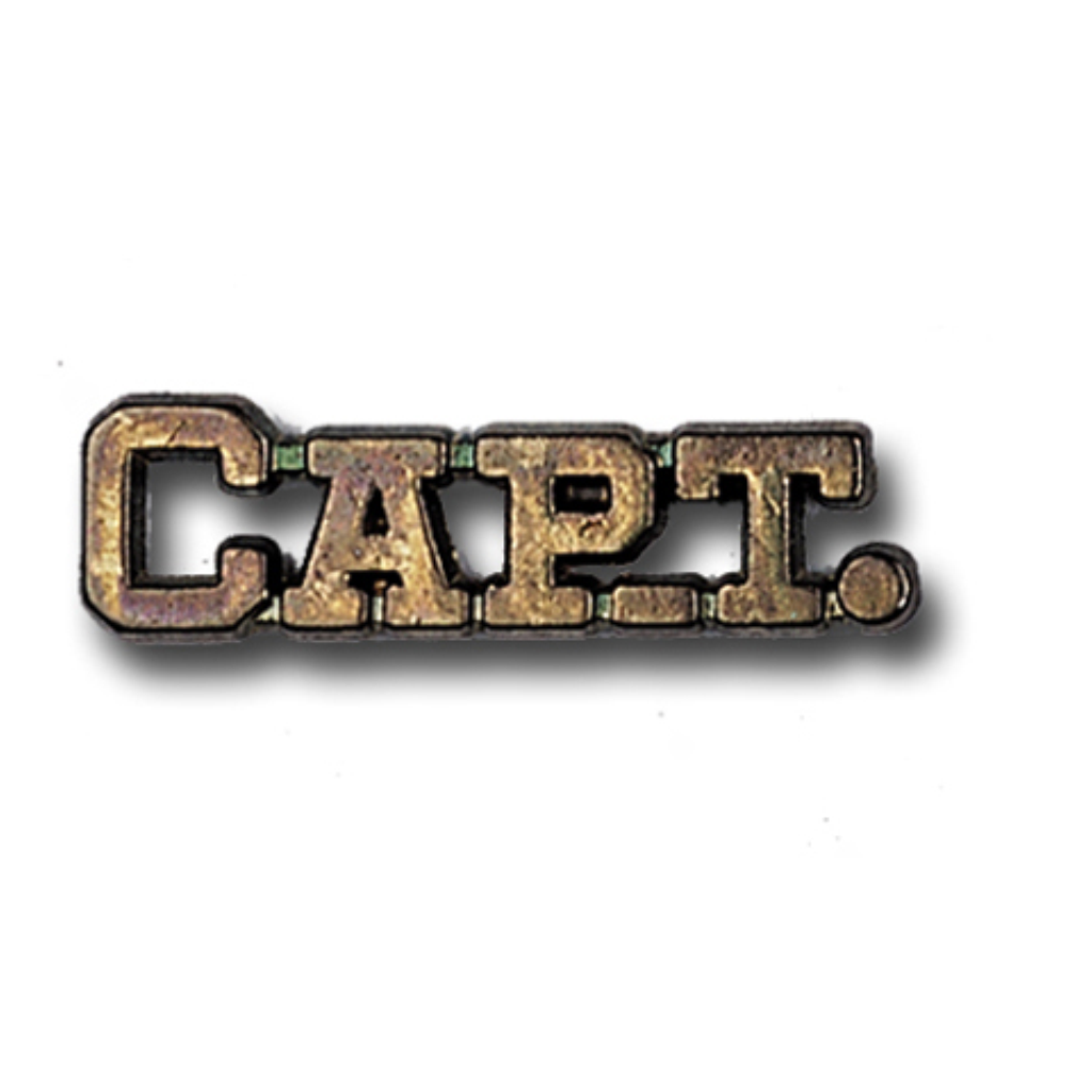 Captain Metal Chenille Letter Insignia with Optional Display Case, Pack of 25