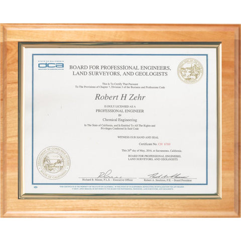 Certificate Mount on Genuine Cherry