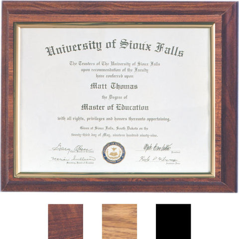 Certificate Mount Plaque, 3 Wood Finishes