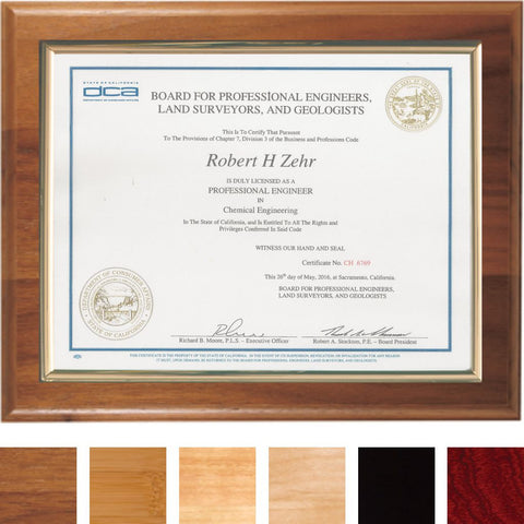 Certificate Mount on Premium Plaque, 6 Wood Choices
