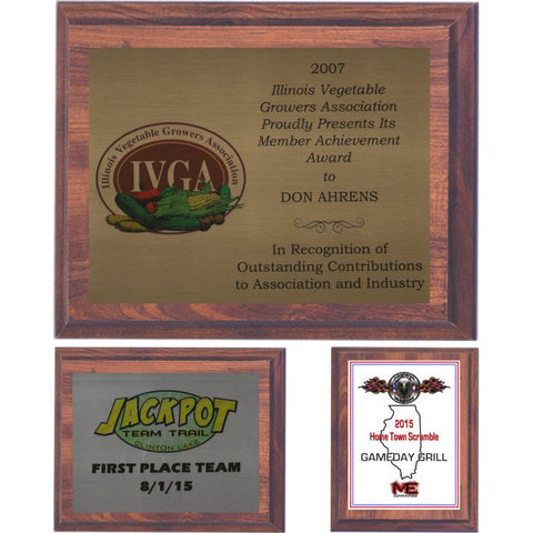 Cherry Finish Plaque with an Aluminum Plate, 7 Sizes
