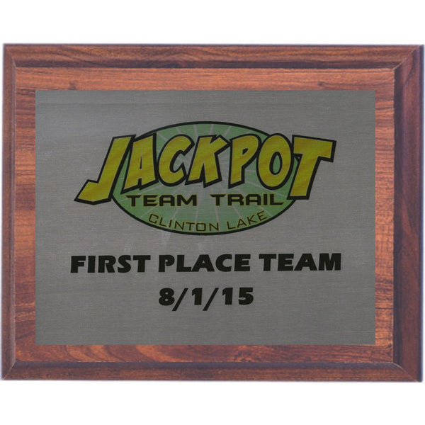 Favorite Cherry Finish Plaque with an Aluminum Plate – Roberts Trophies TI81