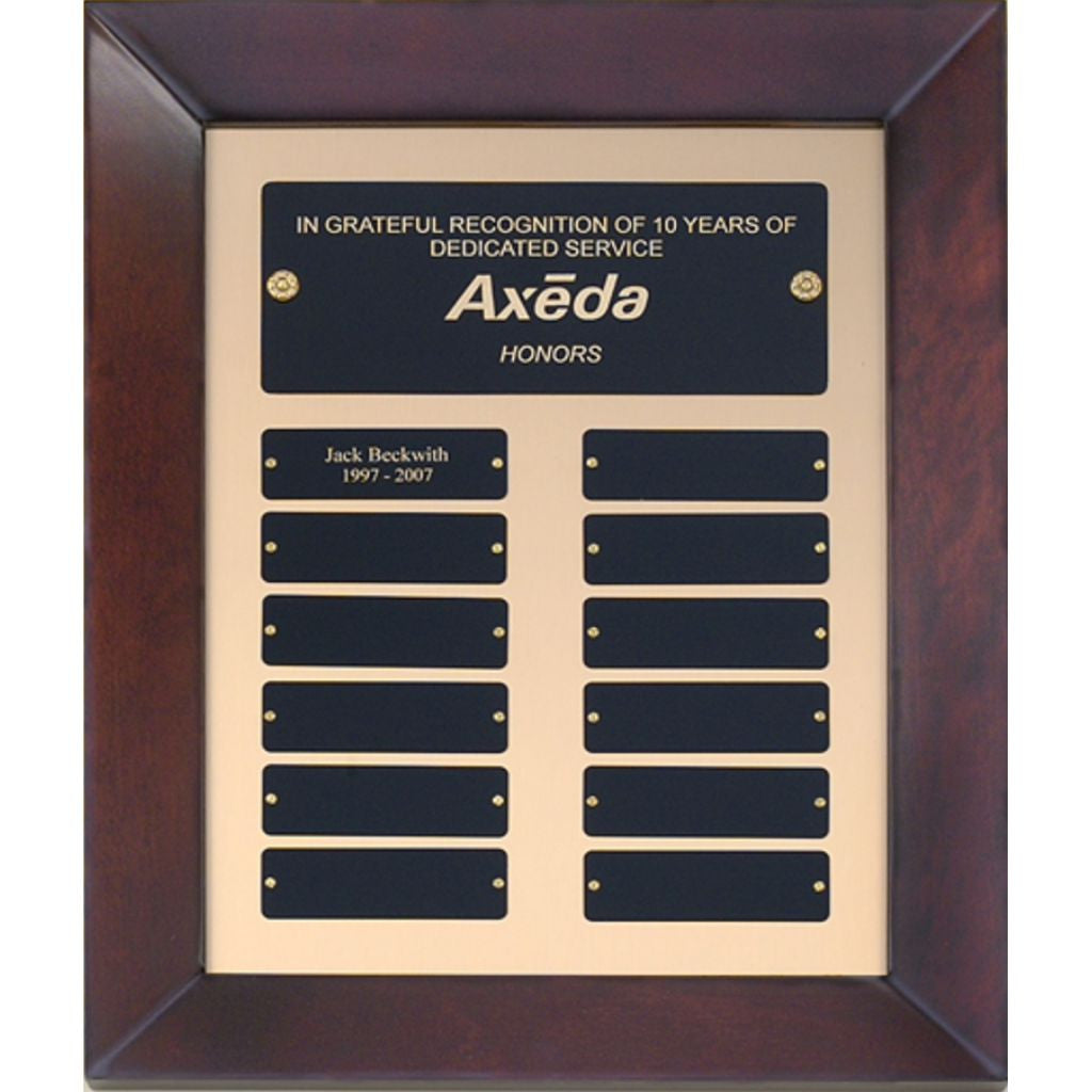 Cherry Finish Wood Frame Perpetual Plaque with Brush Metal Gold Background