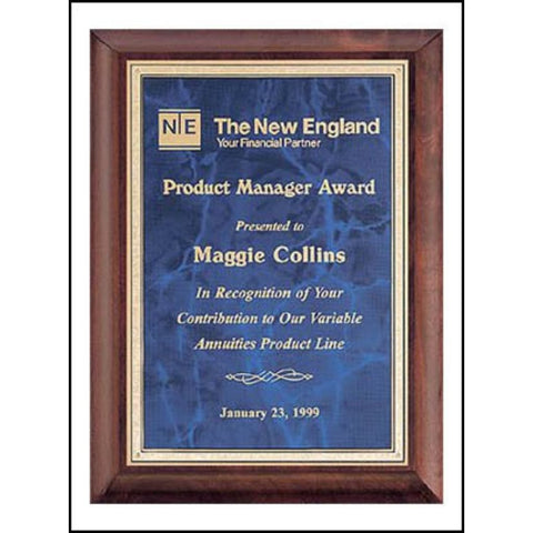 herry Finish Wood Plaque with Sapphire Marble Brass Plate, Manager Award