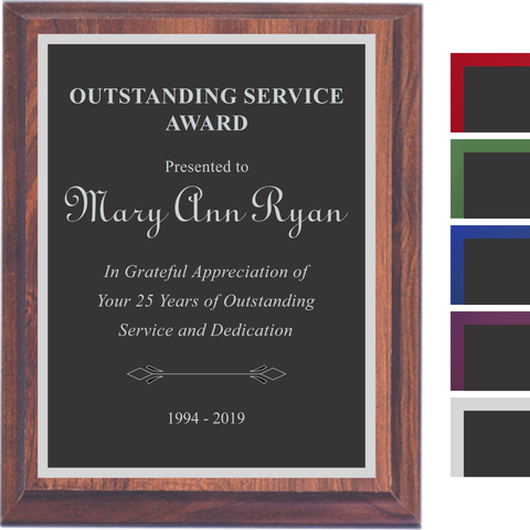 Cherry Finish Plaque with Black Aluminum and Colored Shadow Plates, 5 Sizes, 5 Plate Colors