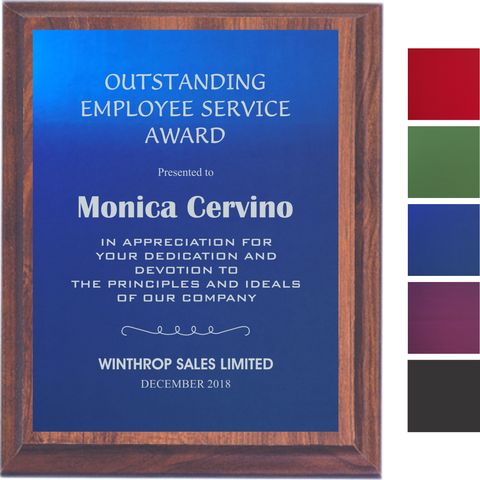Cherry Finish Plaque with Colored Aluminum Plate, 5 Sizes, 5 Plate Colors
