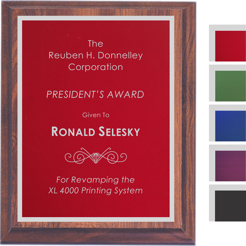 Cherry Finish Plaque with Colored Aluminum and Silver Shadow Plates, 5 Sizes, 5 Plate Colors