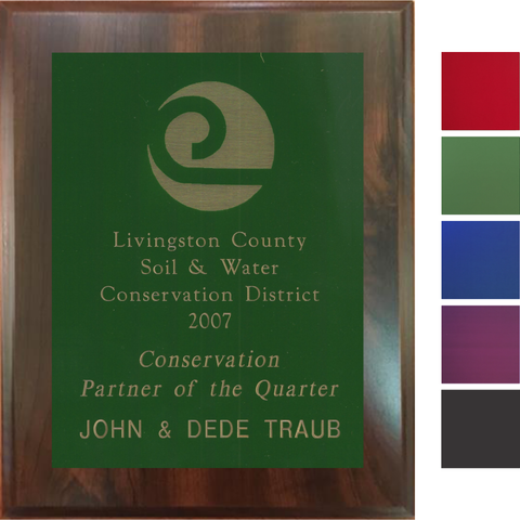 Cherry Finish Plaque with Colored Brass Plate, 5 Sizes, 5 Plate Colors
