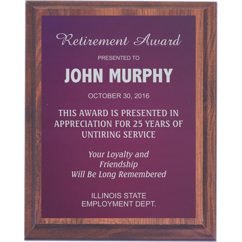 Cherry Finish Plaque with Purple Aluminum Plate
